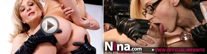 Nina Hartley shares big black cock with her horny girlfriend at nina.com