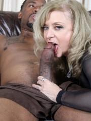 Nina Hartley sucking a huge black cock
