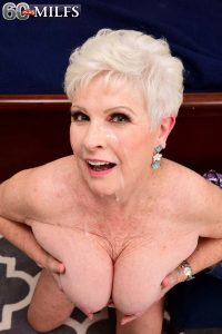 Granny porn star Jewel gets covered in cum at 60PlusMILFs.Com