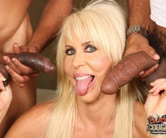 Erica takes two black cum-loads all over her face