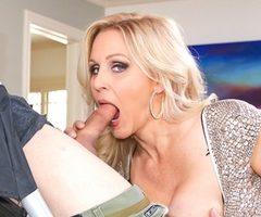 Cougar Julia Ann swallows a huge cock and eats hot cum