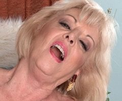 Scarlet Andrews getting fucked and eating cum at 60plusmilfs.com