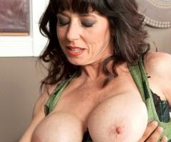 Senior sex performer Karen Kougar gets her beautiful breasts worshiped at 50PlusMILFs.Com