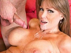 Darla Crane takes a hot cum-load all over her sexy tits