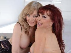 Sexy Vanessa and Nina Hartley work over a slave