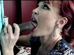 Sexy Vanessa sucking big black cock