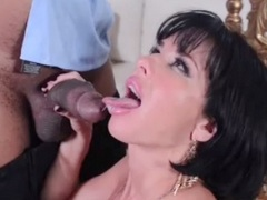 MILF sex star Veronica Avluv sucking on a big black cock