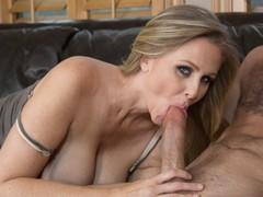 Legendary sex star Julia Ann swallows up a big young cock